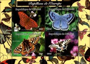 Djibouti 2015 Butterfly Moth 4v Mint Souvenir Sheet S/S. (#03)