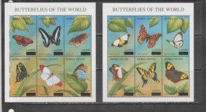 Sierra leone butterflies insects fauna 2klb MNH overprint !