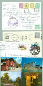 Finland.  4 Postcard Postal Used  1970-80es. Addressed: Sweden.