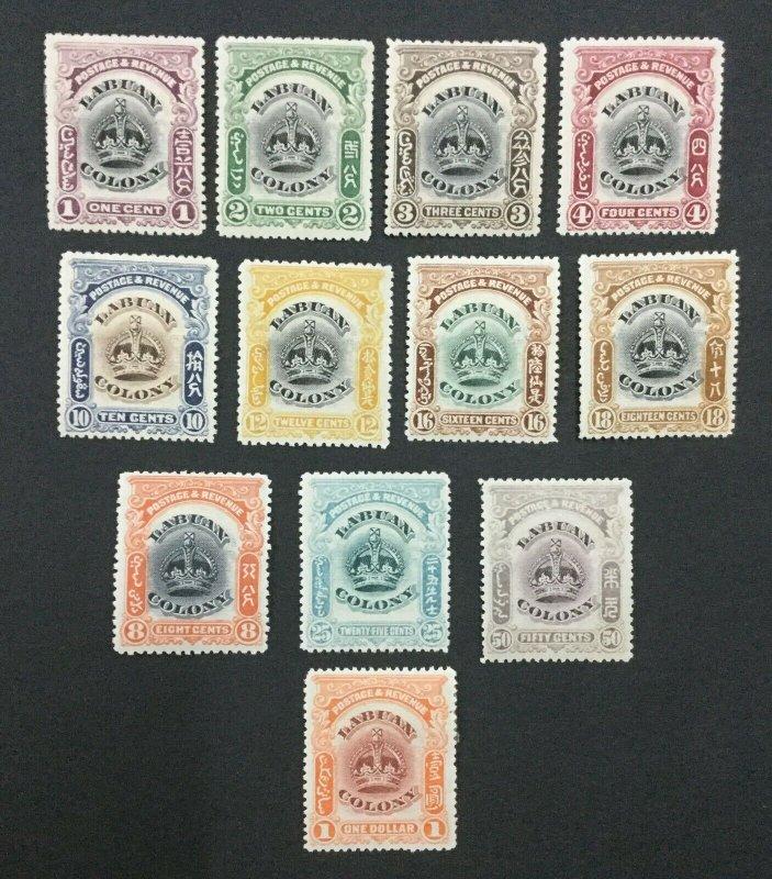 MOMEN: LABUAN SG #117-128 1902-03 MINT OG H LOT #194333-2589