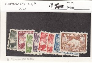 J25751  jlstamps 1938-46 greenland mnh #1-7,9 all checked