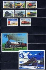 Bhutan 597-606 MNH 1987 Locomotives