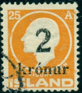 ICELAND #149, 2kr on 25aur Ovpt, Used VF, SCOTT $190.00