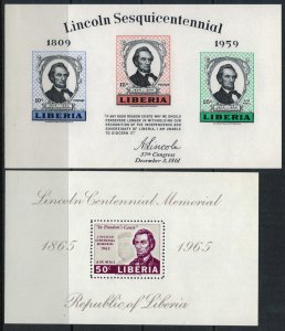 Liberia #386a,C166* NH  CV $4.25  Abraham Lincoln Souvenir sheets