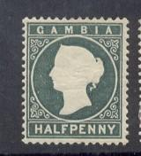 Gambia Sc 12 1887 1/2 d gary green Victoria stamp mint