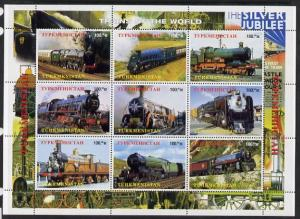 Turkmenistan 1999 Steam Locos perf sheetlet containing 9 ...
