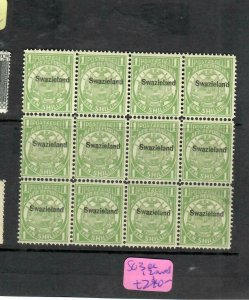 SWAZILAND  (P01006B) 1/- ARMS OVPT ON TRANSVAAL SG 3 BL OF 12   MNH