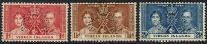 BRITISH VIRGIN ISLANDS 1937 KGVI CORONATION SPECIMEN SET