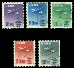 JAPAN  1951  Plane & PAGODA sen unit set   Sk# A11-15  used