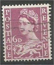 WALES & MONMOUTHSHIRE, GB, 1966 used 6p, Welsh Dragon, Scott 3