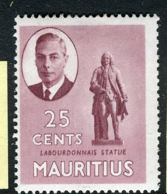 MAURITIUS;  1950 early GVI issue fine Mint hinged 25c. value