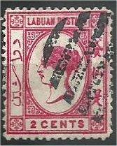 LABUAN, 1892, used 2c, Queen Victoria  Scott 33