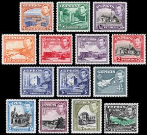 Cyprus Scott 143-153 (1938-44) Mint/Used NH/H F-VF, CV $138.80 B