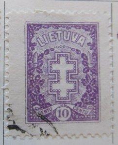 A11P5F52 Litauen Lituanie Lithuania 1926-27 Wmk Intersecting Diamonds 10c used