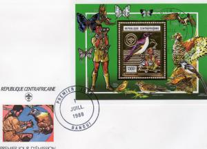 Central African Republic 1988 Scouts/Birds/Butterflies Perforated Gold Foil FDC