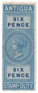 (I.B) Antigua Revenue : Duty Stamp 6d