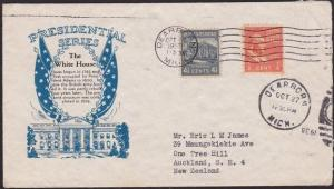 USA 1938 cover to New Zealand - nice franking 4½c & ½c Franklin.............4889