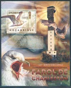 MOZAMBIQUE 2012 CHARLESTON LIGHTHOUSE AND SEA BIRDS SOUVENIR SHEET