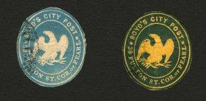 #20LU4 & #20LU7 1864 Blue & Deep Blue on Orange Boyd's City Post Envelope