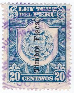 (I.B) Peru Revenue : Duty Stamp 20c (overprint)