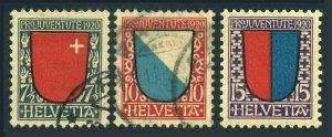 Switzerland B15-B17,used/hinged. Pro Juventute 1920:Arms:Schwyz,Zurich,Ticino.
