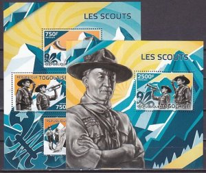Togo, 2014 issue. Scouting sheet of 4 and s/sheet. ^