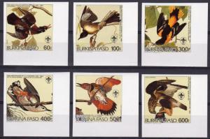 Burkina Faso 1985 Mi#1028B/1033B AUDUBON BIRDS/SCOUT Set (6) IMPERFORATED MNH