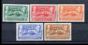 Barbados 202-206 MH 1939 King Charles I George VI Assembly Chamber & Mace x27510