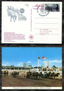 p149 - Canada CALGARY STAMPEDE 1975 Special PO Cachet on old Postcard. Race