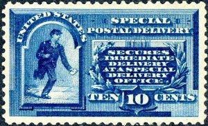 #E1 – 1885 Perf 12 10c blue.  Unused H OG XF