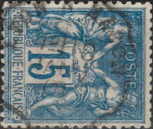 FRANCE - 1901 - Yv.101 15c bleu - Obl. CàD Convoyeur-Ligne LYON À MÂCON - TB