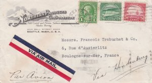 U.S. N.P. Corp. illust. Advert Seattle Cancel 1937 Airmail Stamps Cover Rf 44550