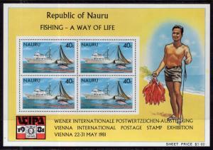 Nauru 230a Fishing Vessel Souvenir Sheet MNH VF