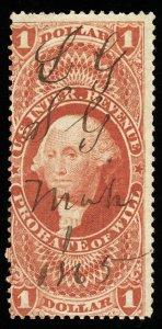 B332 U.S. Revenue Scott R76c $1 Probate of Will 1865 manuscript cancel