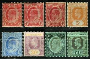 Malaya Straits Settlements 1906-12 KE VII 8V MH LH wmk MCCA M2384