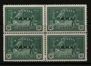 Canada #O9 Very Fine Never Hinged Block