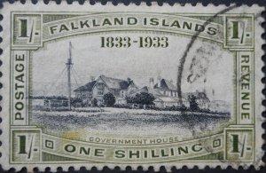 Falkland Islands 1933 GV Centenary 1/- SG 134 used
