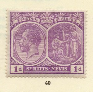 St Kitts Nevis 1920s Early Issue Fine Mint Hinged 1d. NW-170450