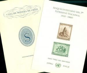 CHILE : 2 Better Souvenir Sheets. Very Fine, Mint No Gum as Issued.
