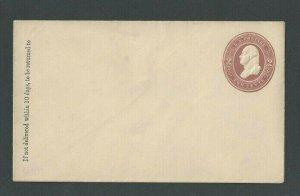 Ca 1866 U277 2c Brown On White Mint Entire Size 6 Die 81
