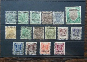 Burma 1937 values to 1r + some service issues Used