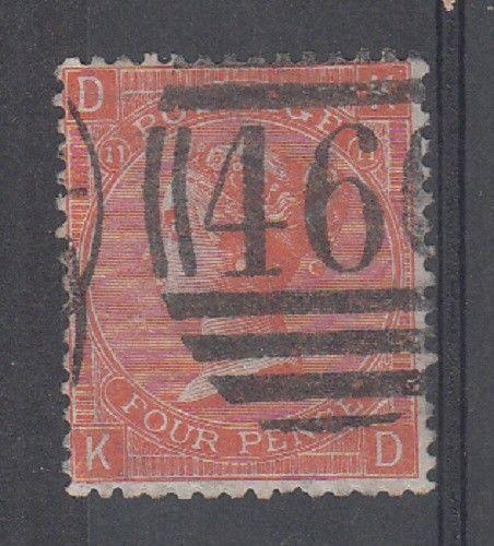 Great Britain Scott 43 Used (plate 11) - Catalog Value $65)