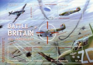 Grenada 2000 MNH WWII WW2 Battle of Britain 6v M/S I Hawker Hurricane Stamps