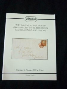 PHILLIPS AUCTION CATALOGUE 1989 GB 1841 1d RED BROWN 'DANZIG' COLLECTION