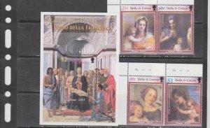 Turks and caicos 2003 art paintings Christmas italian masters set+s/s MNH
