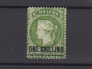 St Helena QV 1884 1/- On 6d Yellow Green SG45 MH JK6274