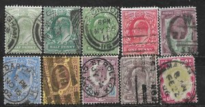 COLLECTION LOT OF 10 GREAT BRITAIN 1902+ KE7 STAMPS CV+ $144