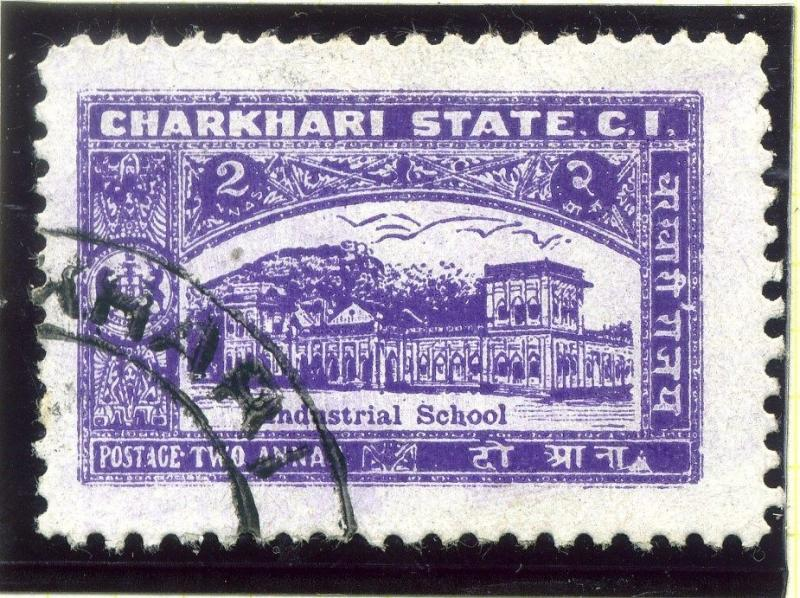 INDIA;  CHARKHARI  1930s early issue fine used 2a. value