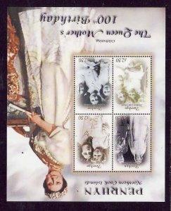 Penrhyn -Sc#458-unused NH sheet-Queen Mother-100th Birthday-2000-
