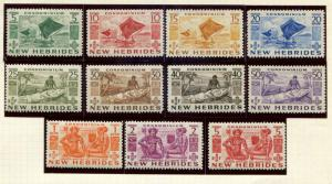 New Hebrides - British  SC# 83-93 SG# 68-78 Canoes, Carvings, Island Couple MH